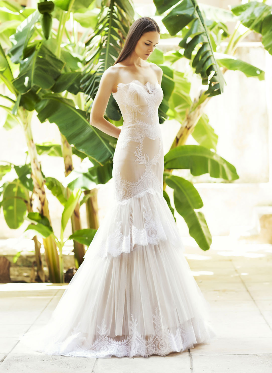 blush tulle wedding dress Blush tulle and lace wedding gown Carefully crafted using the finest silk tulle