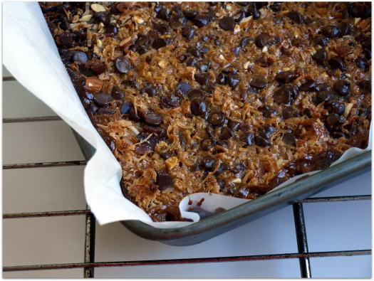 Caramel, coconut, chocolate chip, and bacon magic bars