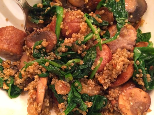 Chicken Apple Sausage, Mushroom, Spinach & Quinoa Bowl3