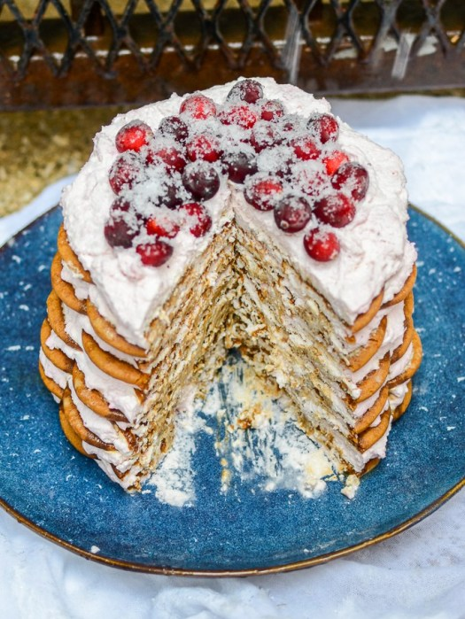Gingersnap-Icebox-Cake-with-Cranberry-Mascarpone-Whipped-Cream-7