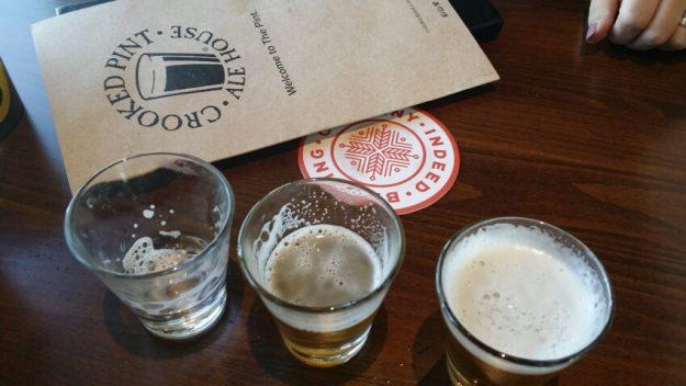 beer samples- Crooked Pint, Chaska
