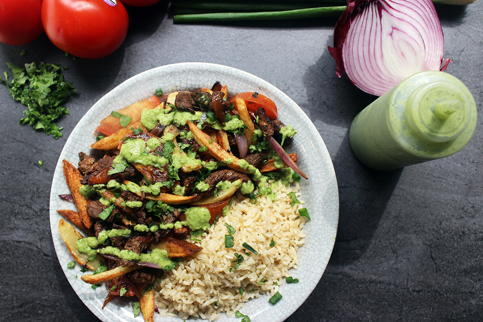 Peruvian Lomo Saltado with Cilantro Aji Sauce and Brown Rice | Dinner ...
