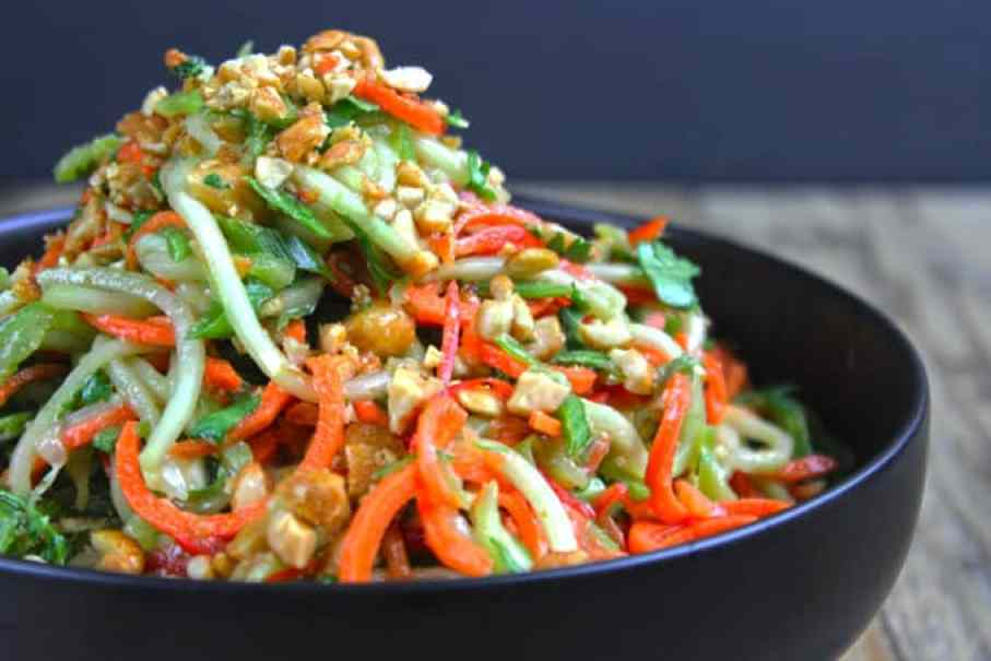 fresh, crunchy Asian Lime-Peanut Slaw with fresh cucumbers, carrots ...
