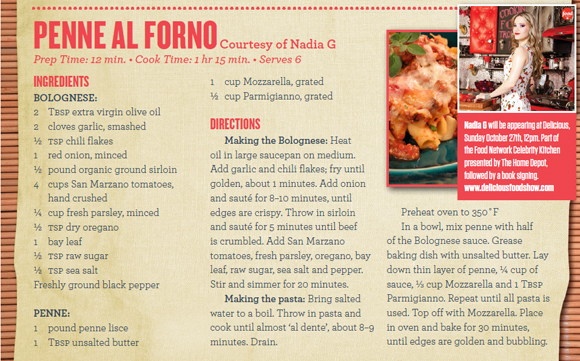 Delicious Food Show 2013 - Nadia G Recipe - Penne Al Forno