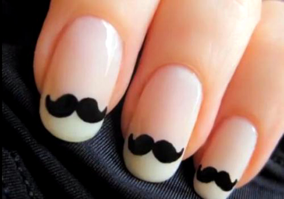amazing-black-cute-nails-movemeber-mustache-nails.