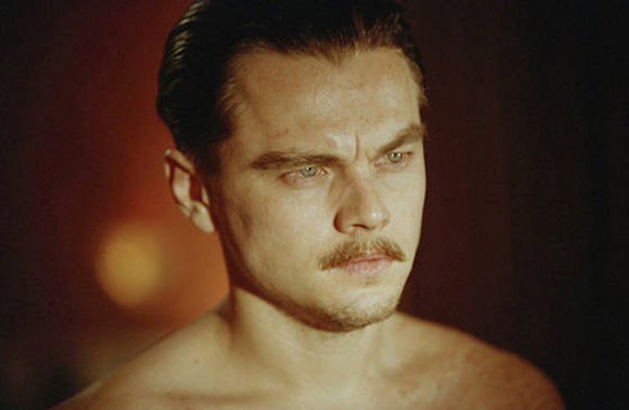 leonardo-dicaprio-with-a-mustache-aviator intense eyebrows