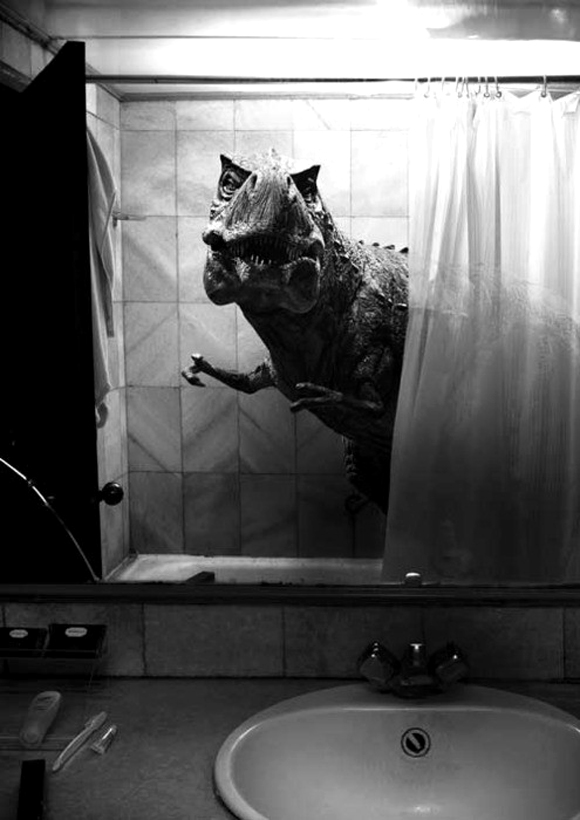 bw-dinosaur-in-shower-not-sexy
