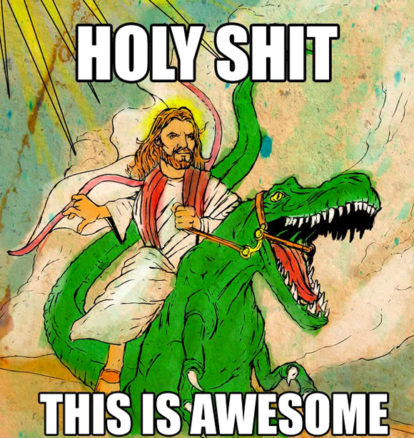jesus-riding-the-dinosaur-to-victory-over-evolution