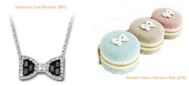 Swarovsk Sue Pendant & Woolen Fabric Macaron Box