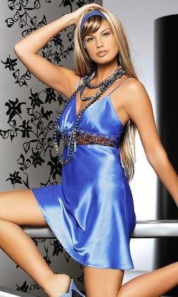 Eveline niebieska halka z satyny i koronki