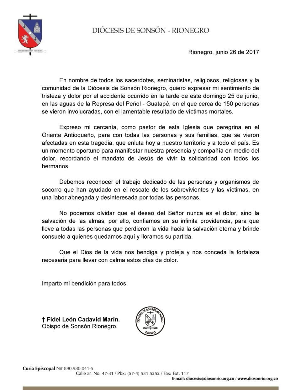 Mensaje del Obispo - Tragedia en Guatapé