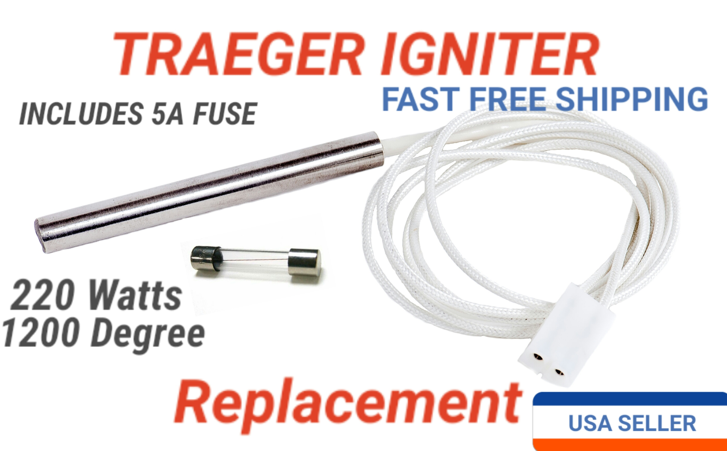 traeger igniter upgrade replacement watts long  traeger igniter upgrade replacement 220 watts 3 5prime long 3 8prime 1200 degree incoloy stainless fits all traegers