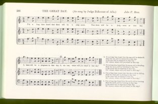 "The Southern Harmony hymn ""Great Day"". This was printed in an American notation, wildly popular in the 19th century, called ""shapenote"". The noteheads were given forms which helped a church congregation with no knowledge of singing to learn music quickly and easily."