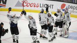 Metropolitan Division players celebrate their team's 4-3 win against the Pacific Division in the NHL hockey All-Star championship game, Sunday, Jan. 29, 2017, in Los Angeles. (AP)