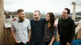 """Titusville natives (from left) Jesse Wig, Kris Bennett, Tara Bennett and Cameron Nicols will be featured on HGTV Sunday during the pilot episode of their television show """"Steel City Rehab."""" (By Frank Vilsack)"""