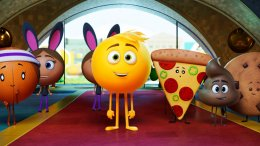 "This image released by Sony Pictures shows Gene, voiced by T.J. Miller, center, in Columbia Pictures and Sony Pictures Animation's ""The Emoji Movie."" (AP)"
