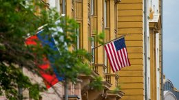 U.S. and Russian flags hung at the U.S. Embassy in Moscow, Russia, Friday, July 28, 2017. (AP)