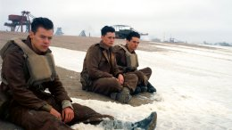 "This image released by Warner Bros. Pictures shows Harry Styles (from left), Aneurin Barnard and Fionn Whitehead in a scene from ""Dunkirk."" (AP)"