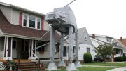 This Thursday, Oct. 12, 2017 photo shows a replica four-legged All Terrain Armored Transport, or AT-AT walker in Parma, Ohio.   (AP)