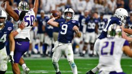 Penn State quarterback Trace McSorley (9) throws against Washington during the second half of the Fiesta Bowl NCAA college football game, Saturday, Dec. 30, 2017, in Glendale, Ariz. (AP)