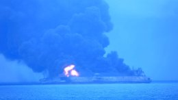 """In this photo provided by Korea Coast Guard, the Panama-registered tanker """"Sanchi"""" is seen ablaze after a collision with a Hong Kong-registered freighter off China's eastern coast Sunday, Jan. 7, 2018. (AP)"""