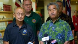 Vern Miyagi, Administrator, HEMA, left, and  Hawaii Gov. David Ige addressed the media  Saturday, Jan. 13, 2018, during a press conference at the Hawaii Emergency Management Center at Diamond Head Saturday following the false alarm issued of a missile launch on Hawaii.  (AP)