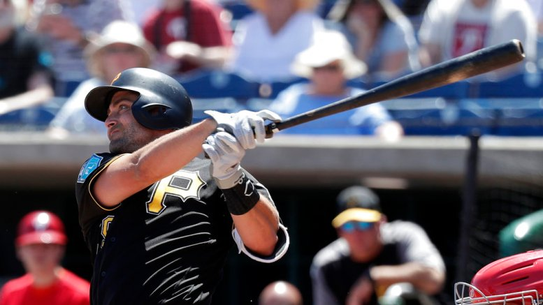 Pittsburgh Pirates' Francisco Cervelli (29) hits a double against the Philadelphia Phillies in the first inning of a spring baseball exhibition game, Tuesday, March 27, 2018, in Clearwater, Fla. (AP)