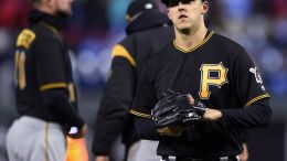 Pittsburgh's Jameson Taillon walks off the mound after giving up five runs in just 1 1/3 innings.