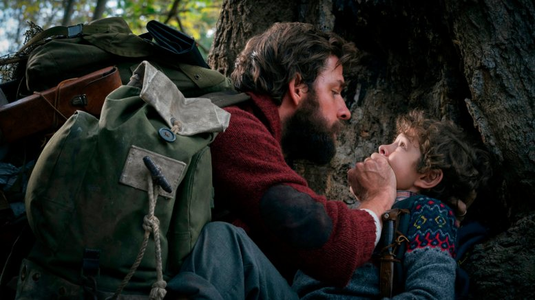 """This image released by Paramount Pictures shows John Krasinski (left) and Noah Jupe in a scene from """"A Quiet Place."""" (AP)"""