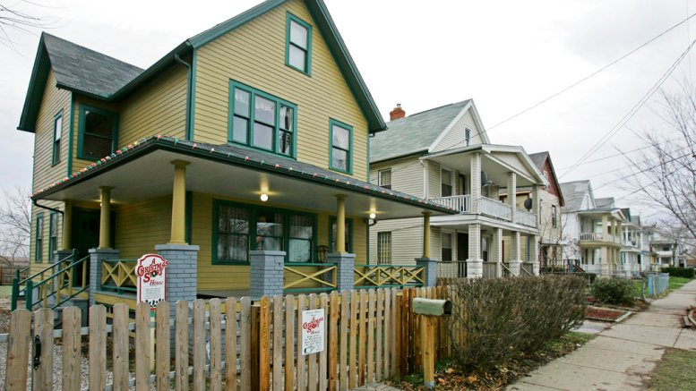 """This Dec. 15, 2008, file photo shows the house, left, where the 1983 movie """"A Christmas Story"""" was filmed in Tremont neighborhood of Cleveland. (AP)"""