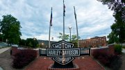 In this July 19, 2010, file photo, a sign is seen outside the Harley-Davidson headquarters in Milwaukee. (AP)