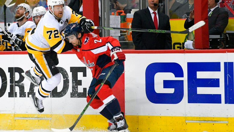Pittsburgh Penguins right wing Patric Hornqvist (72), of Sweden, battles for the puck against Washington Capitals defenseman Matt Niskanen (2) during the first period in Game 2 of an NHL second-round hockey playoff series, Sunday, April 29, 2018, in Washington. (AP)