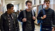 """This image released by Netflix shows, from left, Christian Navarro, Dylan Minnette and Brandon Flynn in """"13 Reasons Why."""" (AP)"""