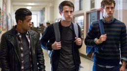 "This image released by Netflix shows, from left, Christian Navarro, Dylan Minnette and Brandon Flynn in ""13 Reasons Why."" (AP)"