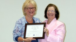Cathy Zerbe, left, received Clarion Hospital's Linda Steiner-Mander Nursing Excellence Award on Wednesday. Zerbe is pictured with Steiner-Mander. (Submitted photo)