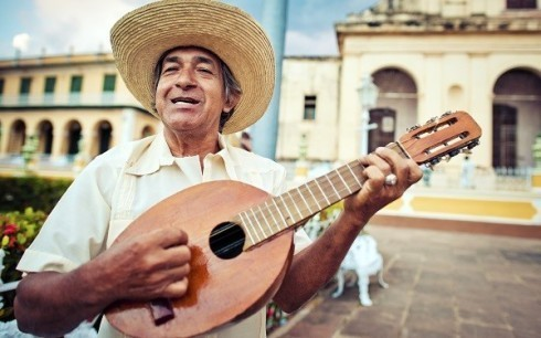 man in Cuba playing mandolin