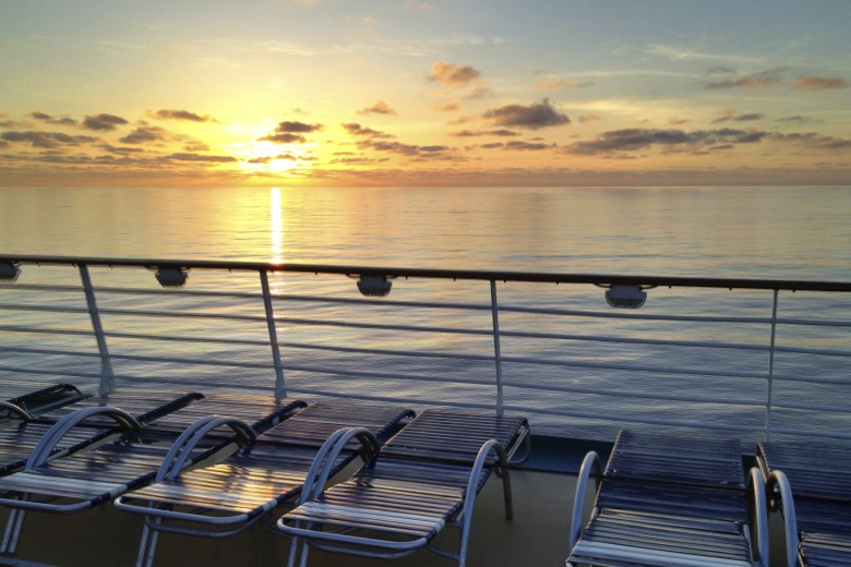 Sunset during our trans atlantic cruise with Royal Caribbean
