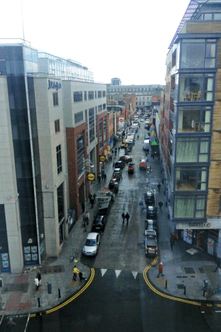 The view of Moore Street, Dublin from our Airbnb room.