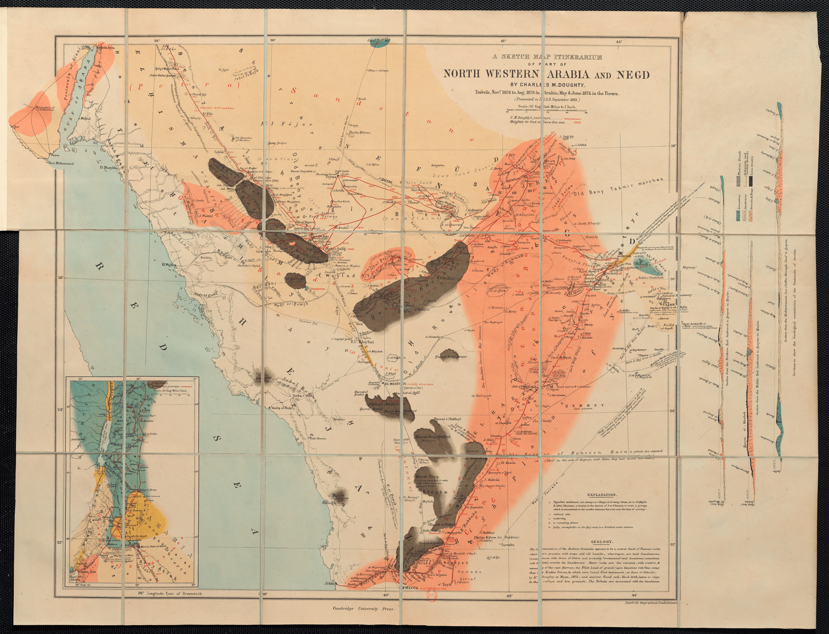 Fig  4 4 Doughty s Map of Arabia  1884    Dislocating the Orient Charles Doughty  A Sketch Map of Itinerarium of part of North Western  Arabia and Negd