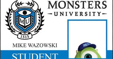 Monsters University Student Id Card Mike Wazowski