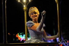 Cinderella in Disneyland's Paint the Night Parade.
