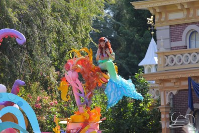 Ariel swims high above Disneyland in Mickey's Soundsational Parade.