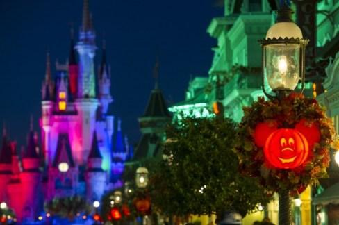 Mickey Jack-O-Lanterns light up Main Street, U.S.A. in the Magic Kingdom