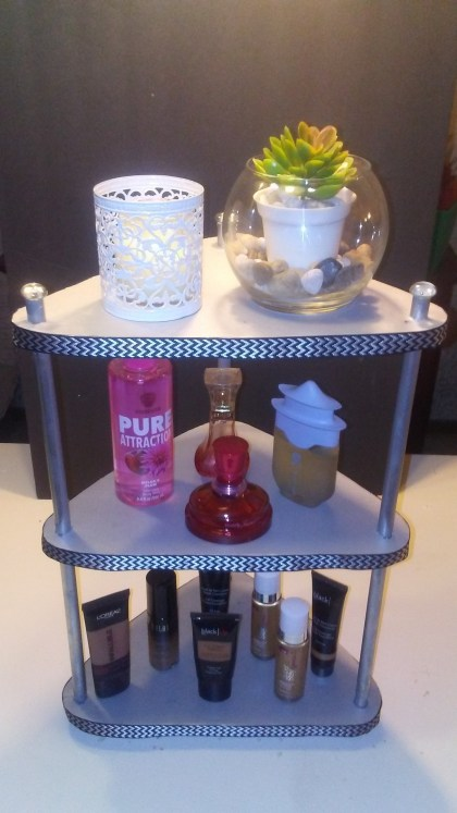 DIY 3 tier display shelf craft project dollar tree home decor organization