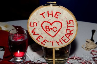 The Sweethearts Table embroidered centerpiece - in action!