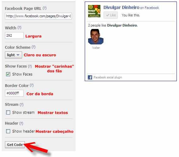 fan page fas pagina fa facebook caixa like