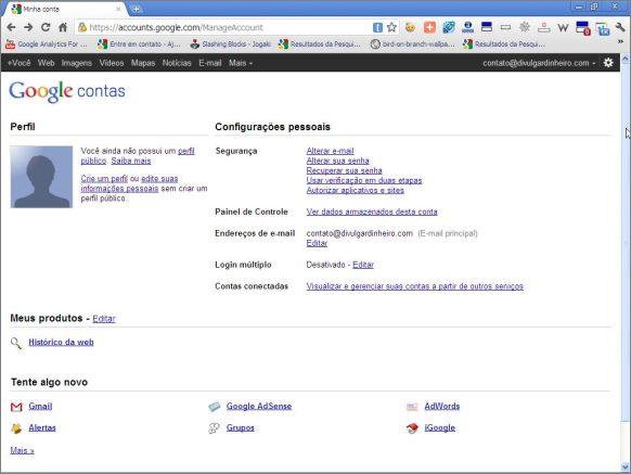 página inicial homepage google contas