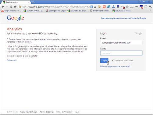 tela login google analytics