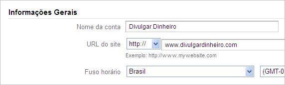 informacoes gerais formulario google analytics