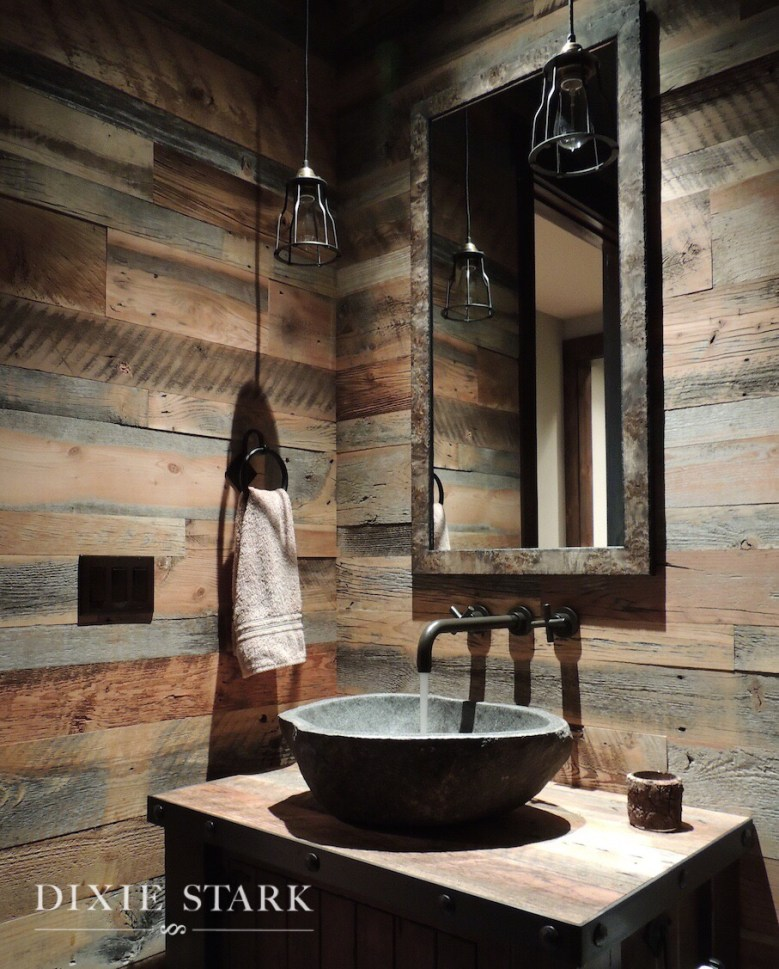 rustic powder room reclaimed wood pendants